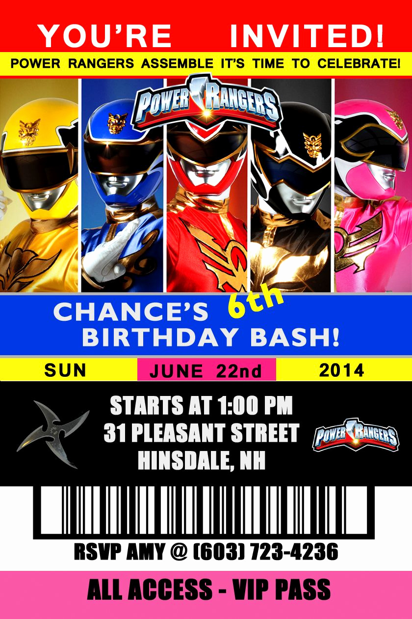 Power Ranger Invitation Templates Elegant Power Rangers Birthday Invitation