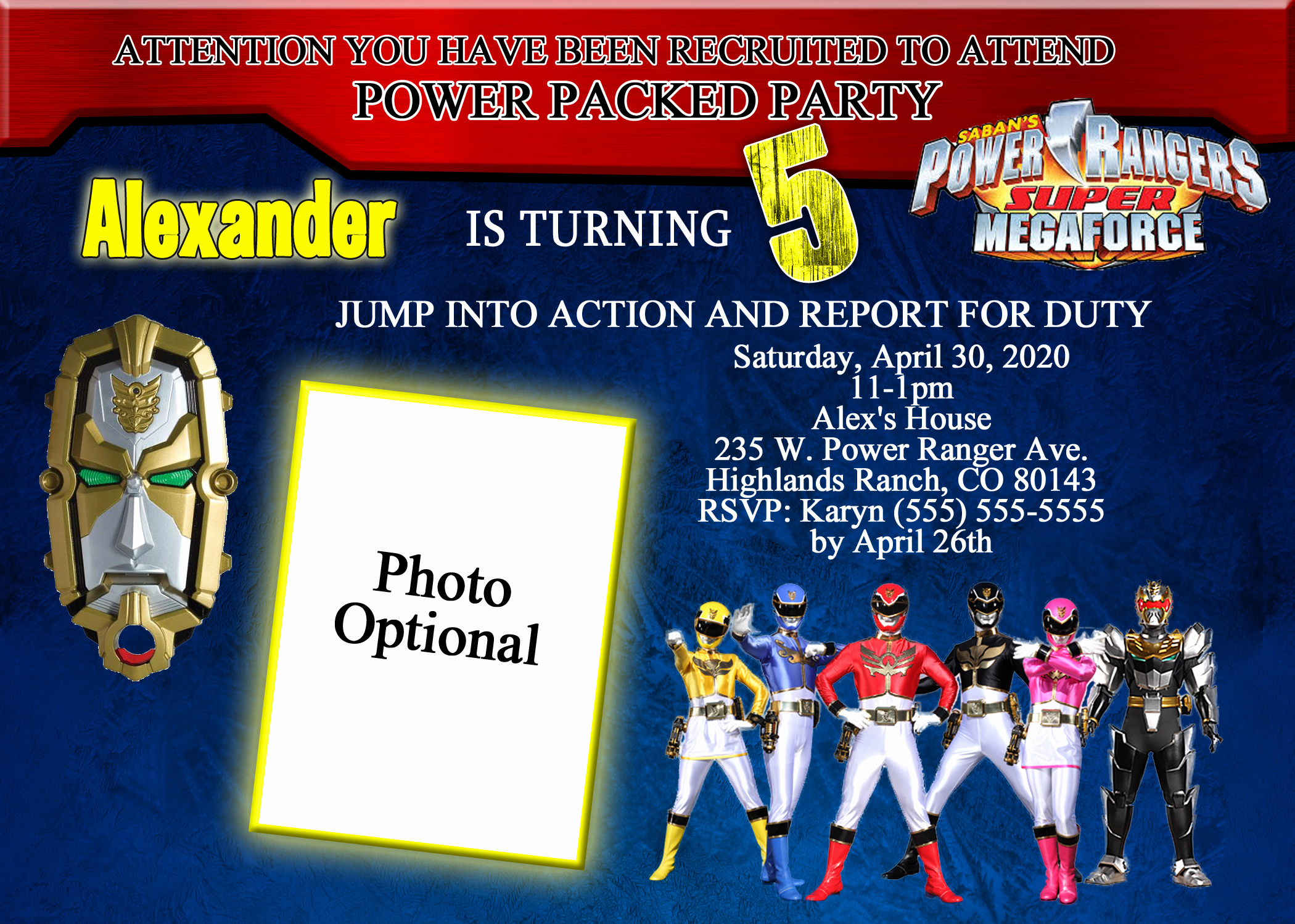 Power Ranger Invitation Templates Elegant Power Rangers Brithday Invitation