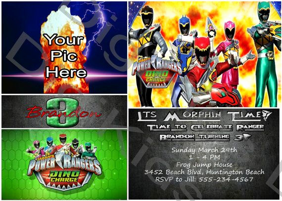 Power Ranger Invitation Templates Fresh Fully Custom Power Ranger Dino Charge Birthday Invitation
