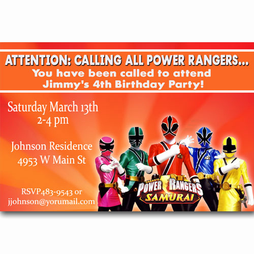 Power Ranger Invitation Templates Fresh Power Rangers Birthday Invitations Ideas – Free Printable
