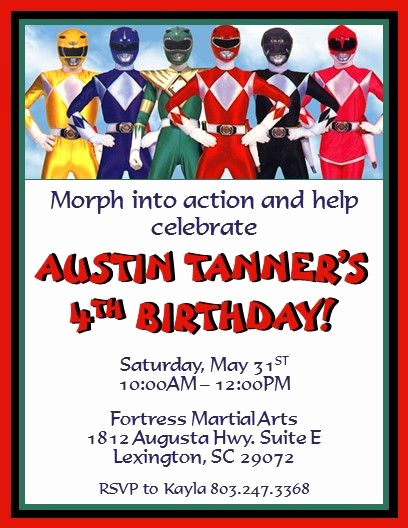 Power Ranger Invitation Templates Fresh Power Rangers Invitations 2 Invitations