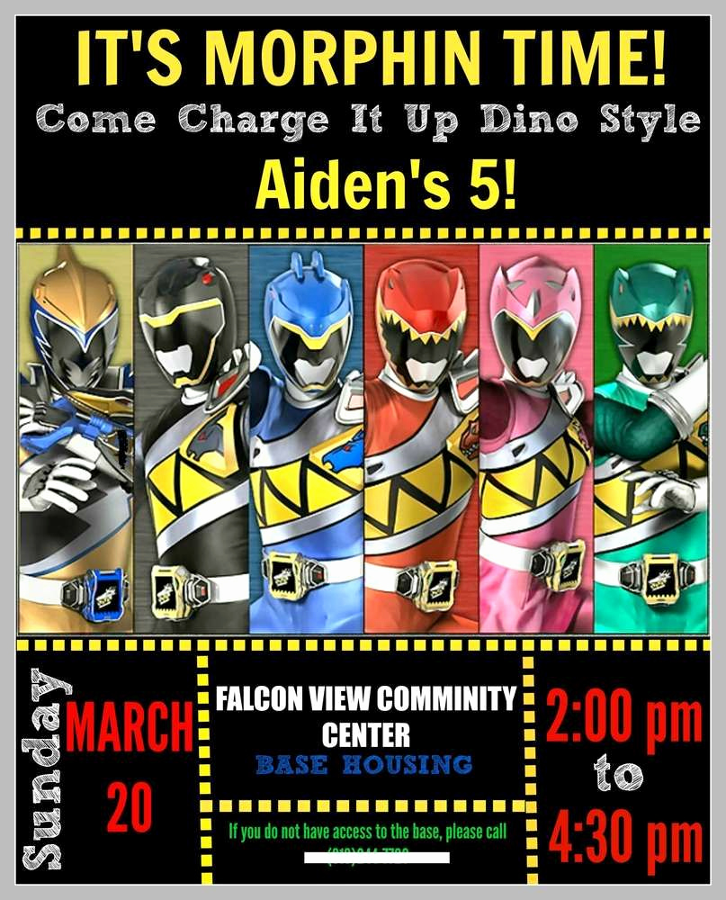 Power Ranger Invitation Templates Inspirational Power Rangers Dino Charge Birthday Party Ideas