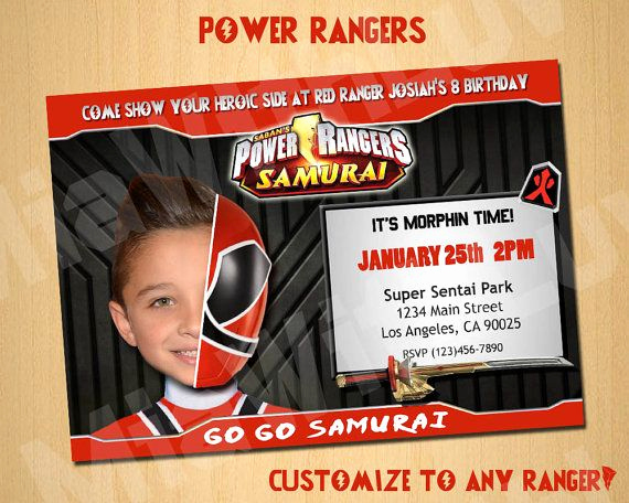 Power Ranger Invitation Templates Inspirational Power Rangers Samurai Birthday Invitation Invite Custom by