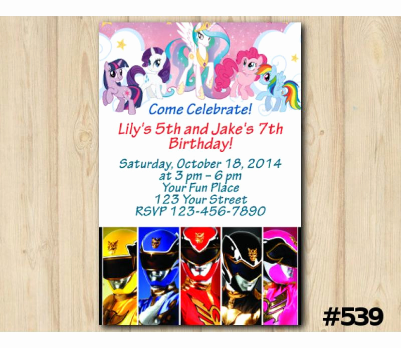 Power Ranger Invitation Templates Inspirational Twin My Little Pony and Power Rangers Birthday Invitation