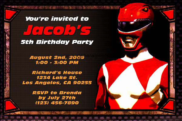 Power Ranger Invitation Templates New Free Printable Power Rangers Birthday Party Invitations