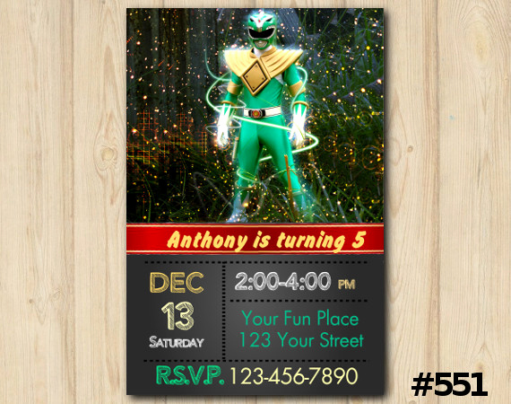 Power Ranger Invitation Templates New Power Rangers Birthday Invitation Green Power Rangers