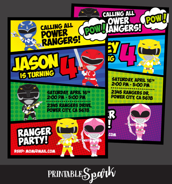 Power Ranger Invitation Templates New Power Rangers Invitation Power Ranger Birthday Party Power