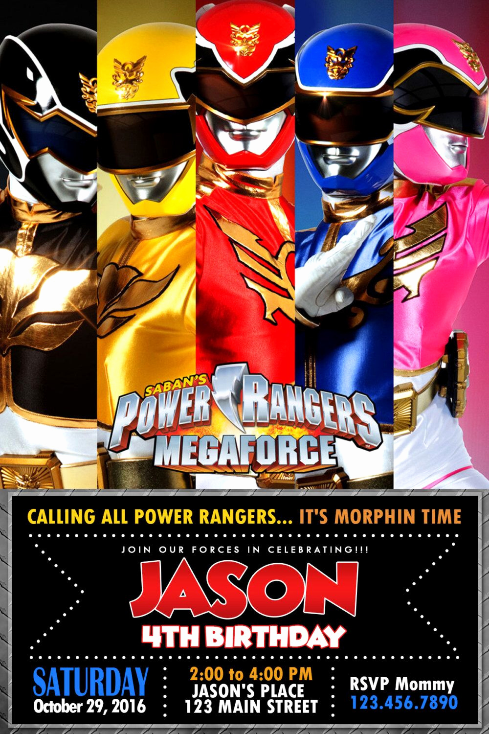 Power Rangers Birthday Invitation Template Awesome Pin by Oliviadollhouseatl On Power Rangers Party