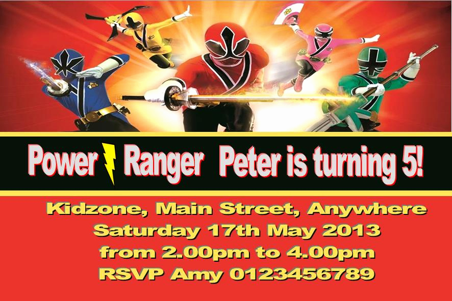 Power Rangers Birthday Invitation Template Beautiful Personalised Power Rangers Invitations