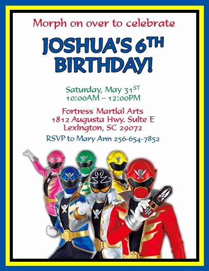 Power Rangers Birthday Invitation Template Best Of Power Rangers Invitations 5 Invitations