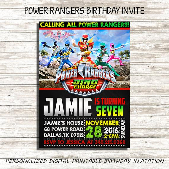 Power Rangers Birthday Invitation Template Elegant Power Rangers Birthday Invitation Power by Digitalfactoryart