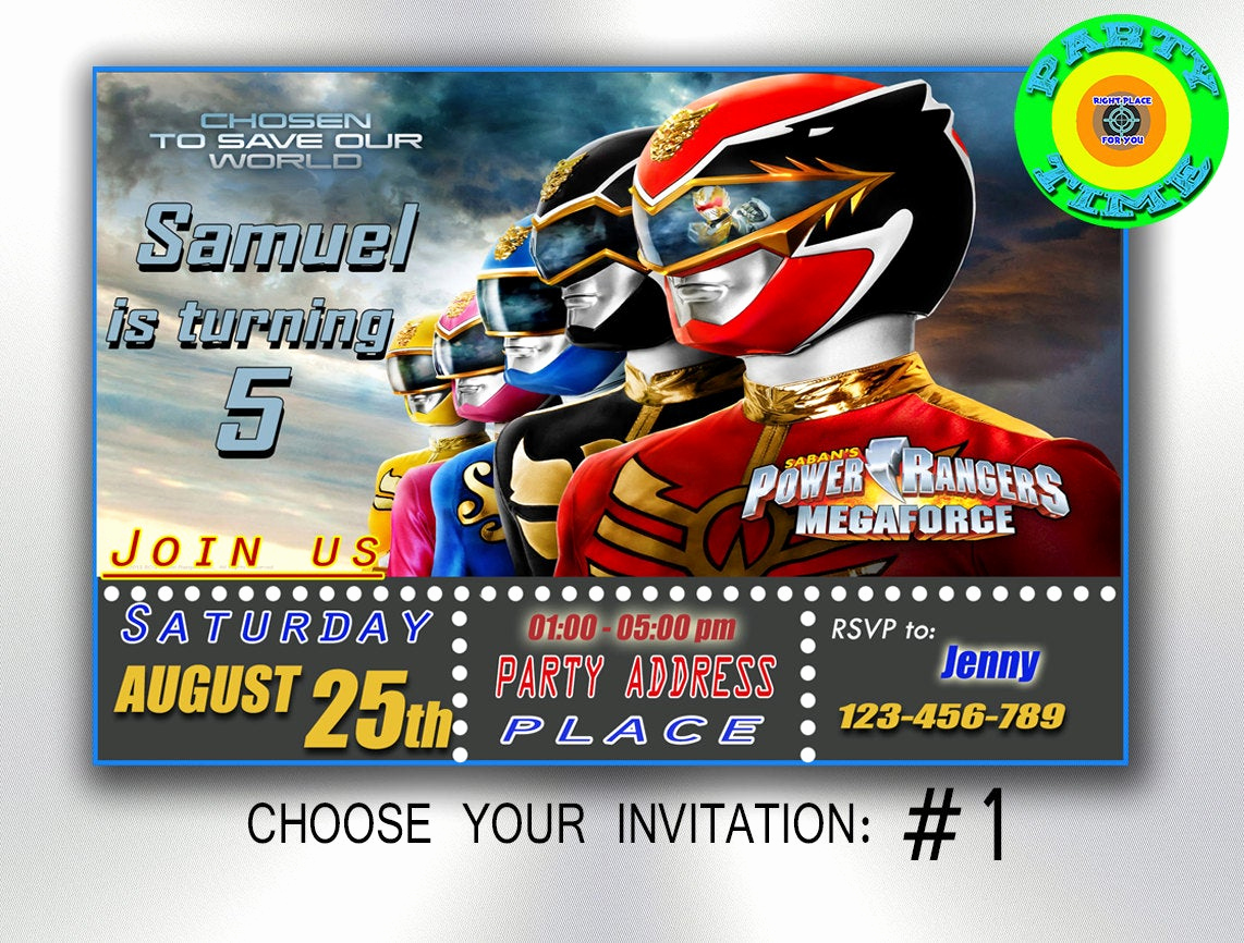 Power Rangers Birthday Invitation Template Elegant Power Rangers Invitation Party Printable by Partytimedigital