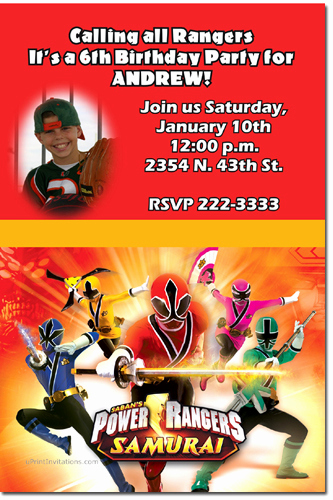 Power Rangers Birthday Invitation Template Unique Power Rangers Ninja Steel Birthday Invitations Candy