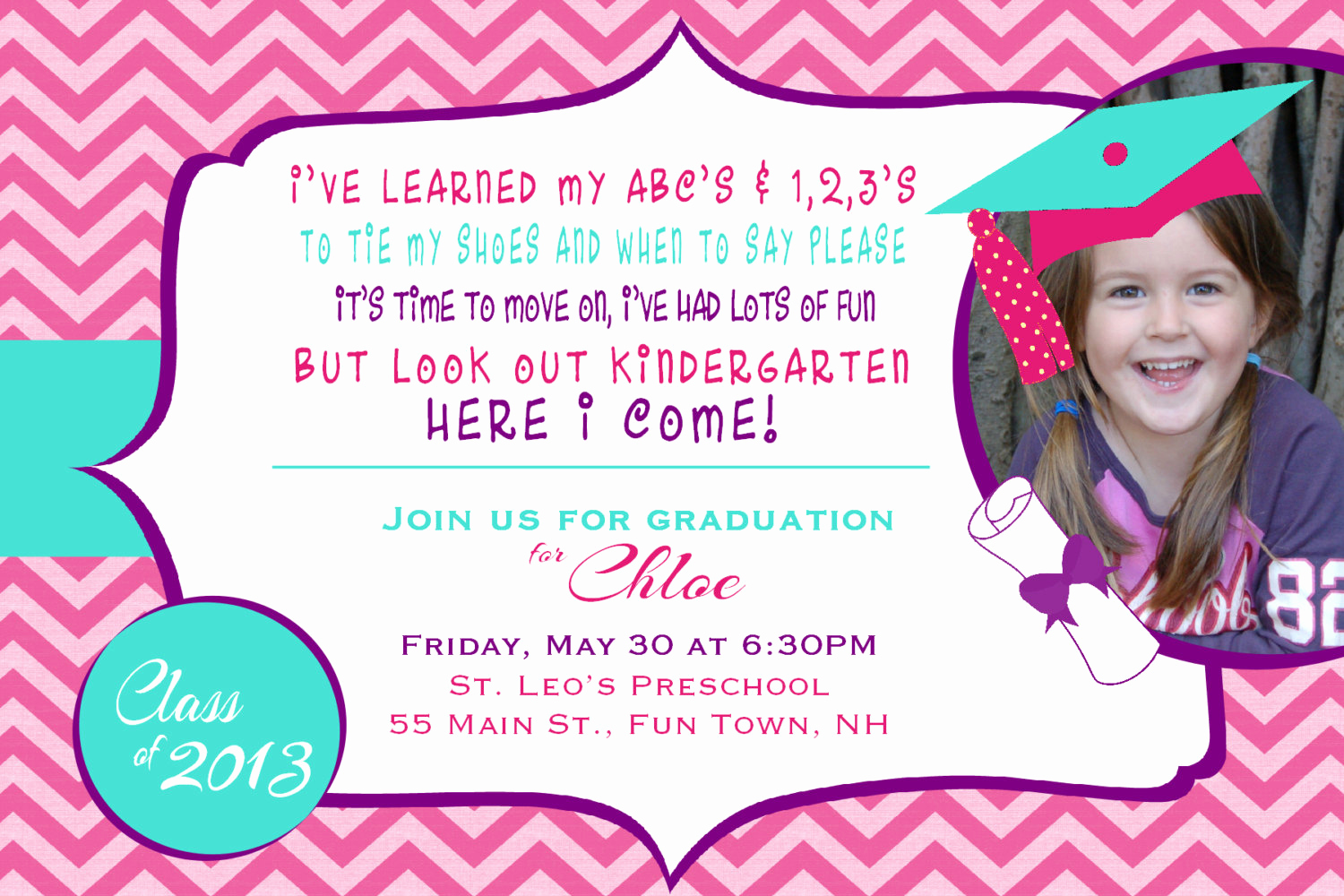 Pre School Graduation Invitation Awesome Preschool or Kindergarten Graduation by asyouwishcreations4u