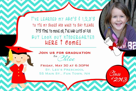 Pre School Graduation Invitation Beautiful Preschool or Kindergarten Graduation Invitation or