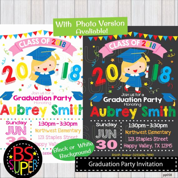 Pre School Graduation Invitation Elegant Graduation Party Invitation Kindergarten Graduation Invite