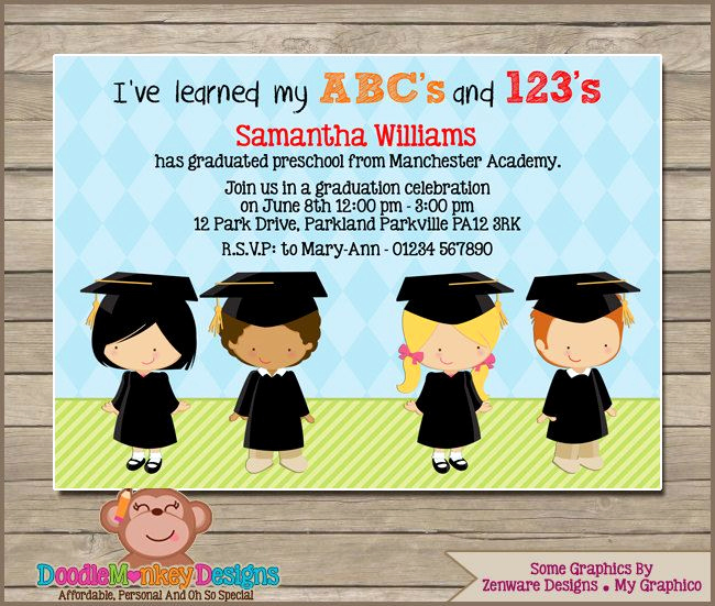 Pre School Graduation Invitation Elegant Preschool Graduation V1 Party Invitation Diy Printable