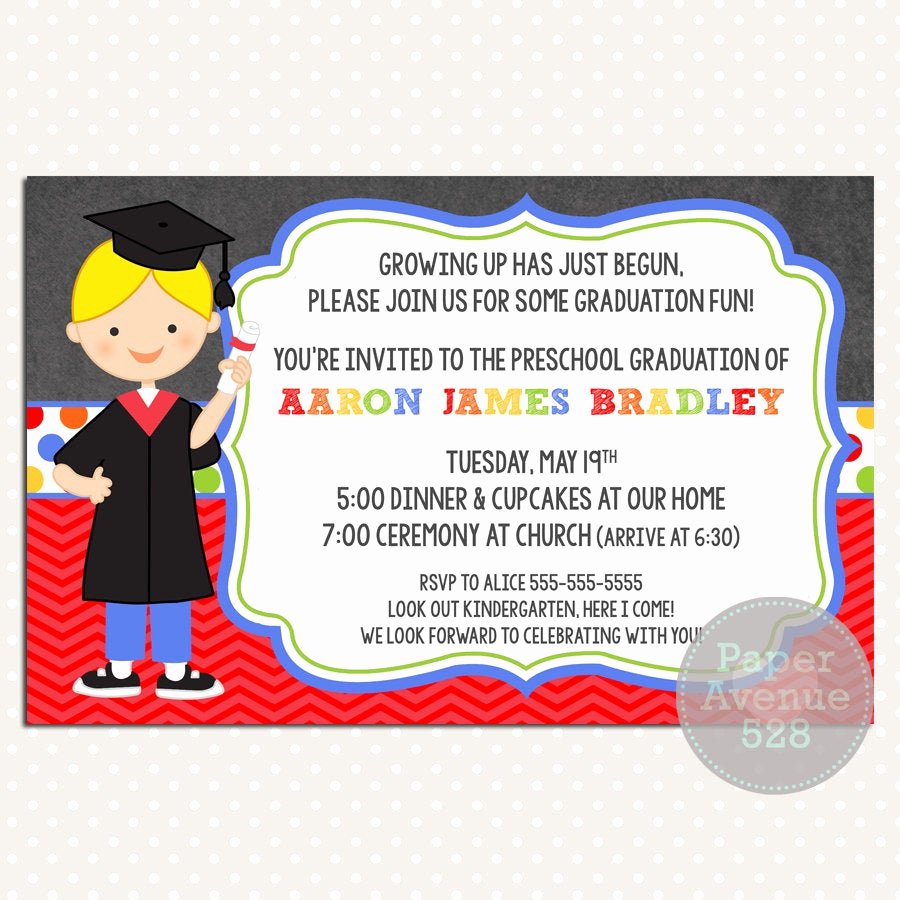 Pre School Graduation Invitation Inspirational Boys Graduation Invitations Chalkboard Premade Card Invite