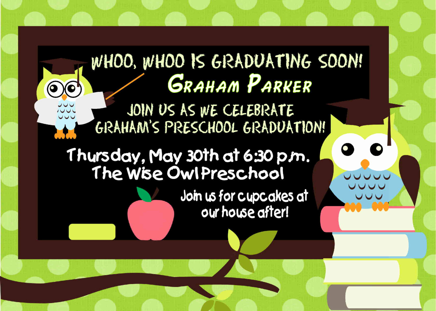 Pre School Graduation Invitation New Digital Preschool Kindergarten Wise Owl Graduation Invitation