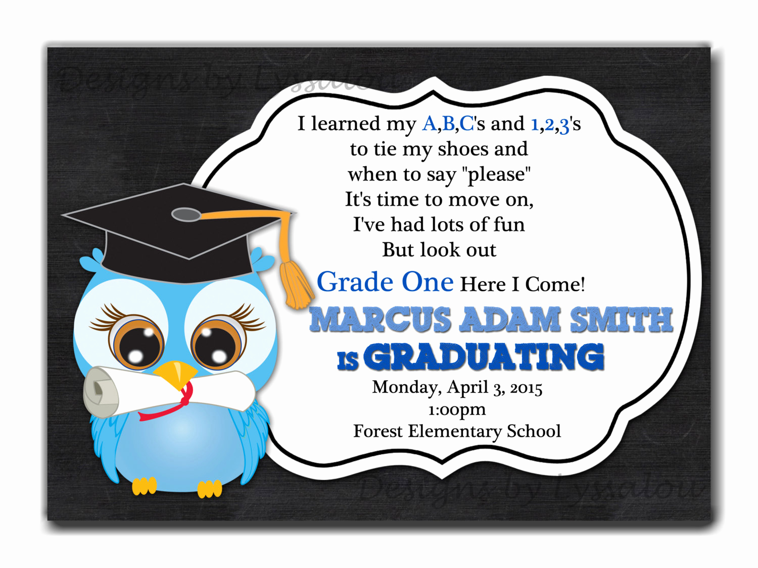 Pre School Graduation Invitation New Graduation Invitation Kindergarten Graduation Invite