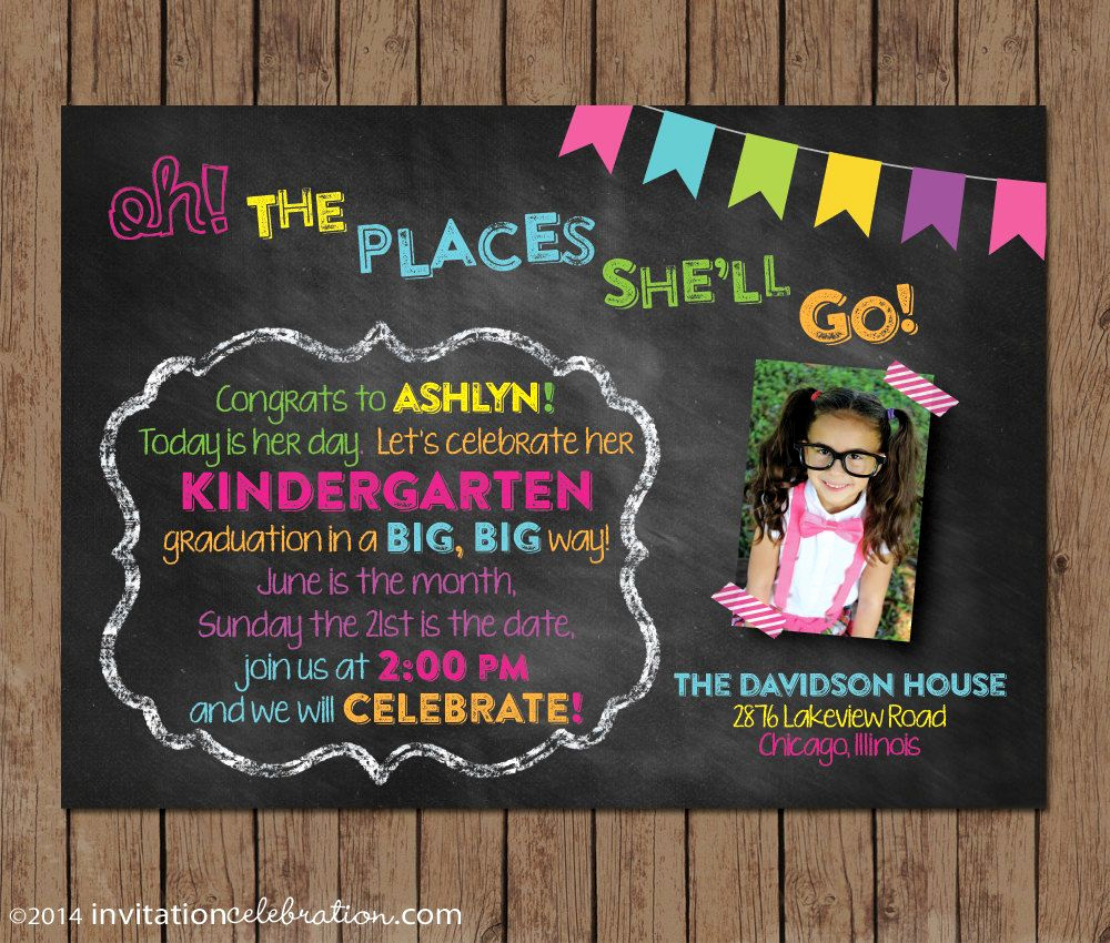 Pre School Graduation Invitation New Oh the Places She Ll Go Dr Seuss Graduation Invitation