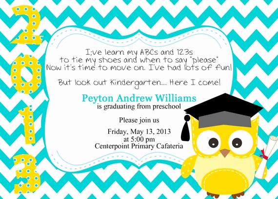 Pre School Graduation Invitation New Preschool Kindergarten Graduation Invitation by