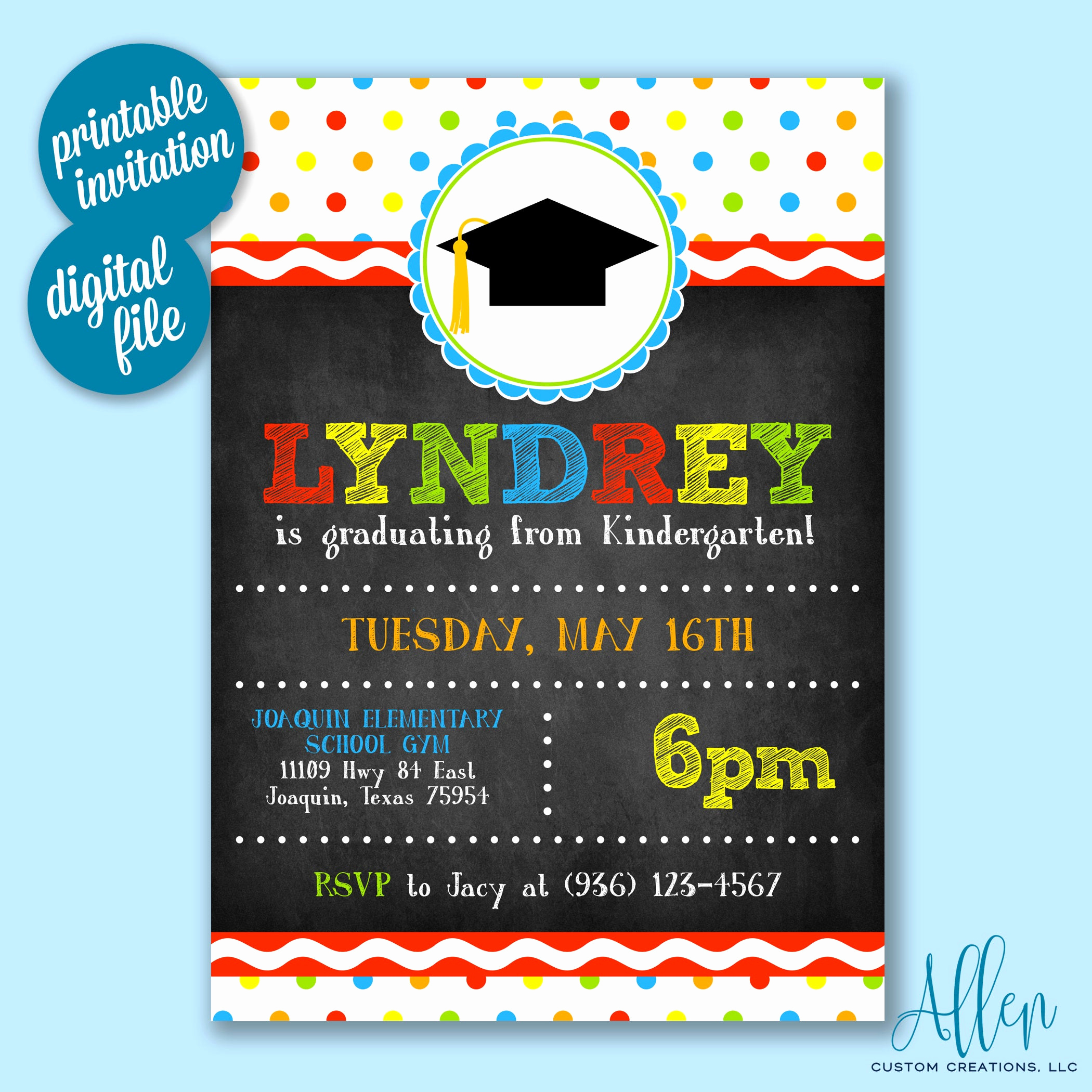Pre School Graduation Invitation Unique Kindergarten Graduation Invitation