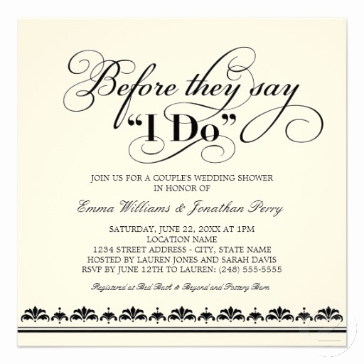 Pre Wedding Party Invitation Wording Elegant Couple S Wedding Shower Invitation Wedding Vows
