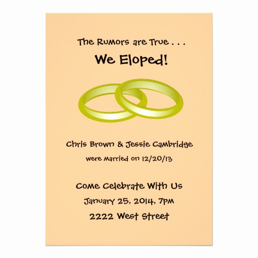 "Pre Wedding Party Invitation Wording Elegant We Eloped Post Wedding Party Invitation 5"" X 7"