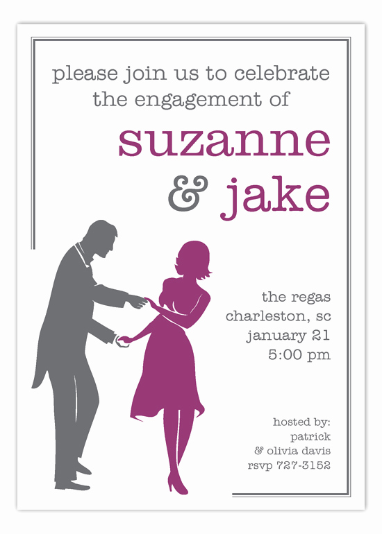 Pre Wedding Party Invitation Wording Inspirational Plum Dancing Couple Silhouette Invitation