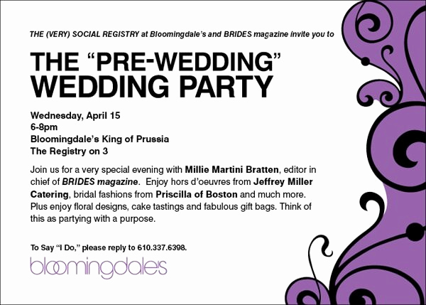 Pre Wedding Party Invitation Wording Luxury Look for Us at Bloomies