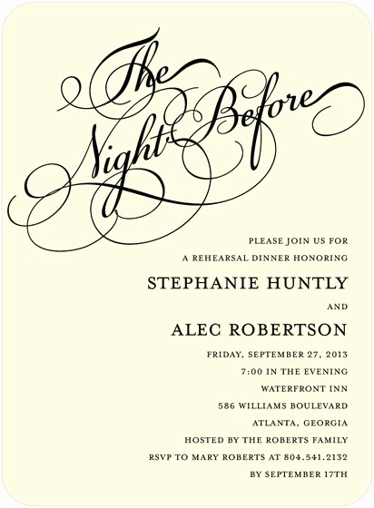 Pre Wedding Party Invitation Wording New the Night before Rehearsal Dinner Invitation