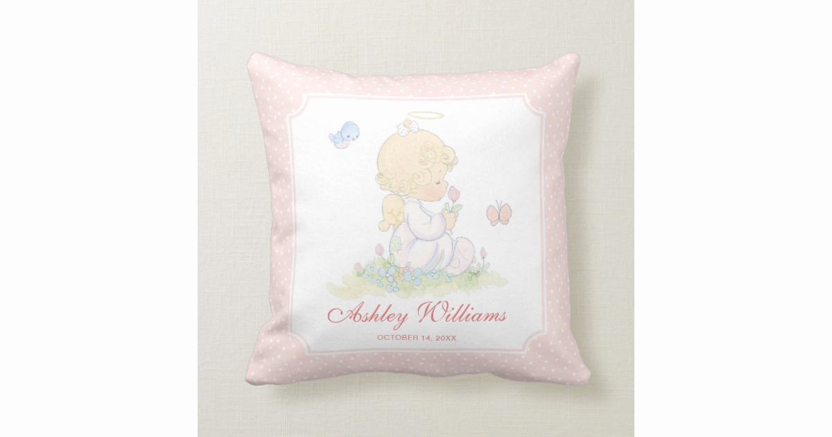 Precious Moments Wedding Invitation Awesome Precious Moments Girl Baptism Throw Pillow