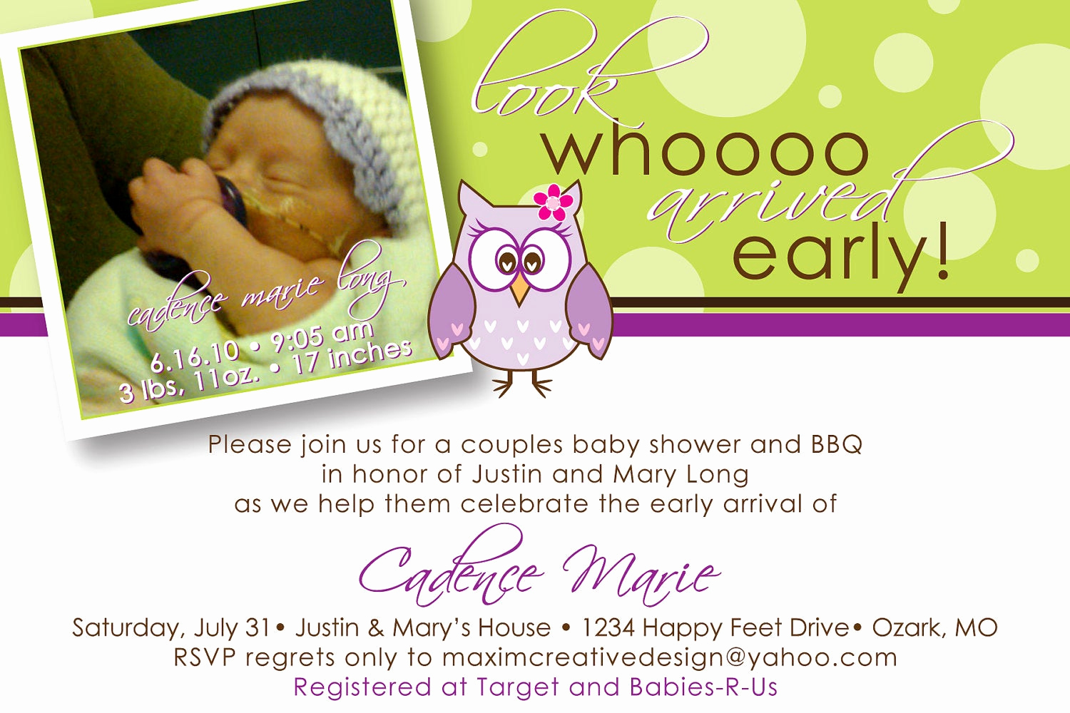 Preemie Baby Shower Invitation Wording Best Of Diy Printable Birth Announcement Owl by Maximcreativeinvites