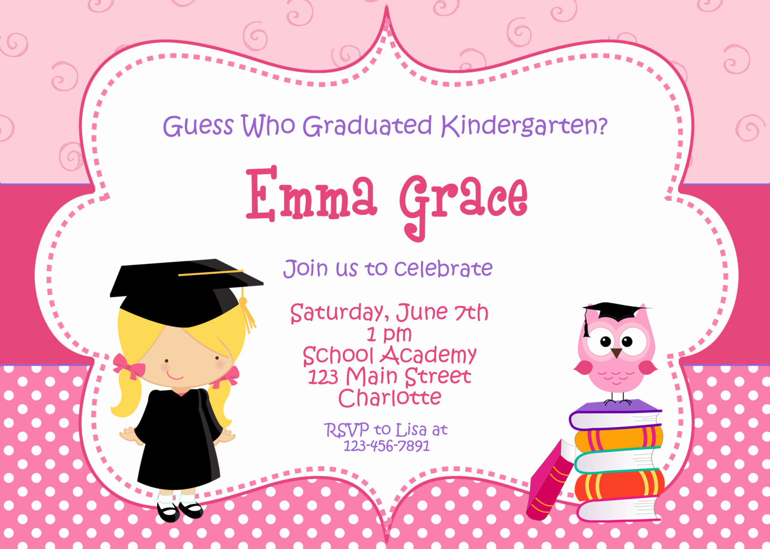 Preschool Graduation Invitation Ideas Beautiful Kindergarten Graduation Invitation Graduation Preschool