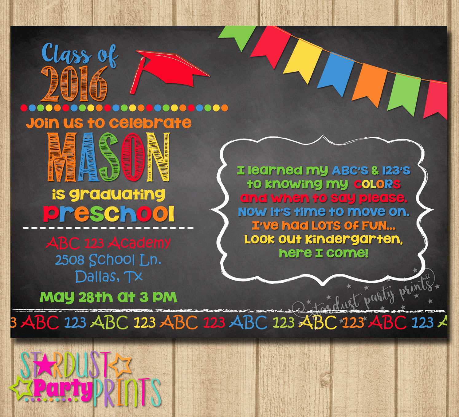 Preschool Graduation Invitation Ideas Fresh Kinder Graduation Invitation Preschool by Stardustevents