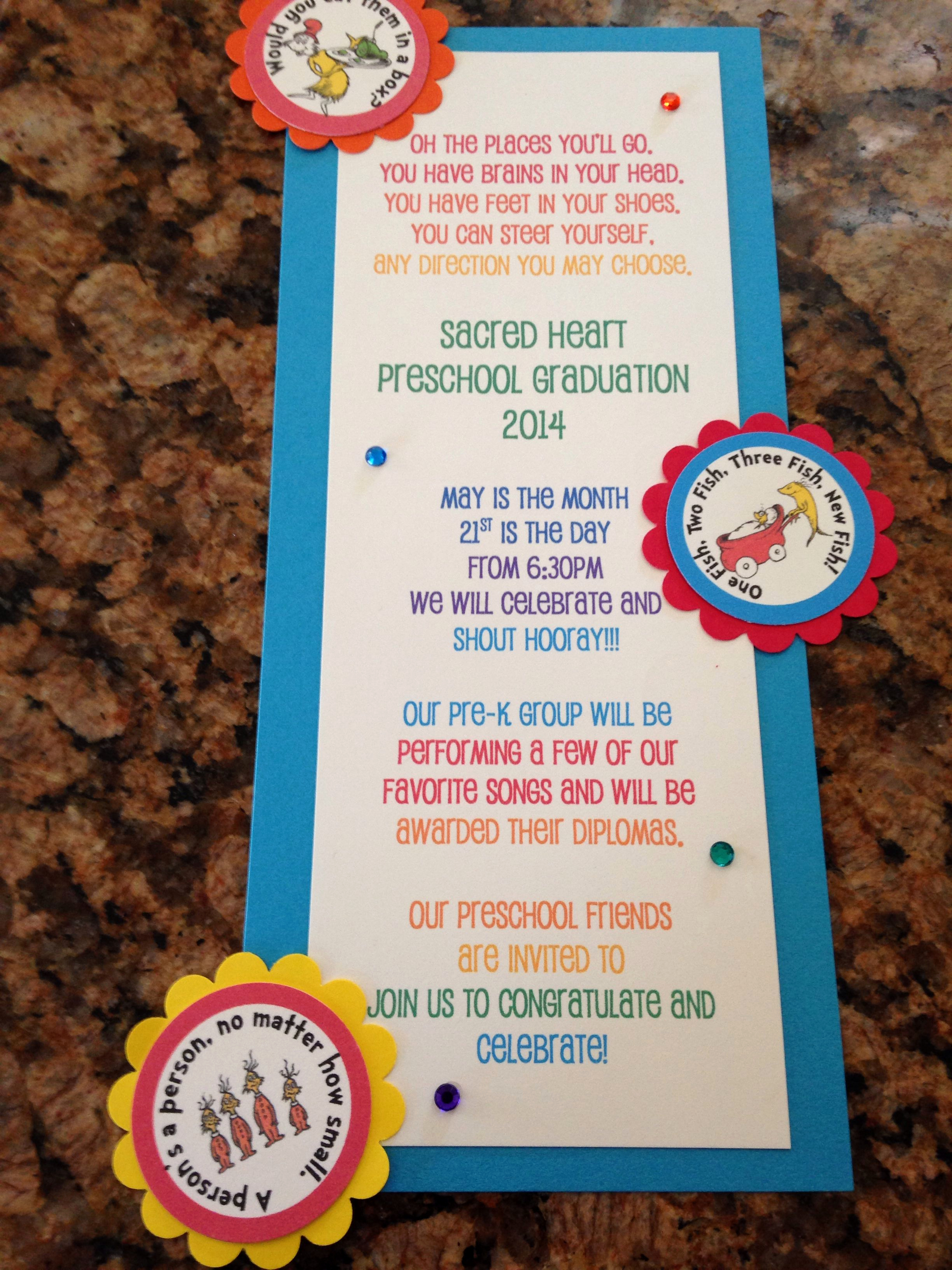 Preschool Graduation Invitation Ideas Fresh Prek Preschool Graduation Invitation Dr Seuss