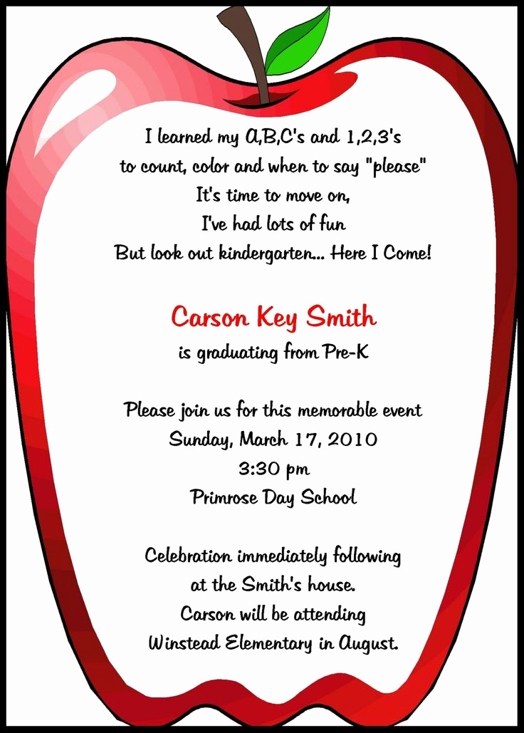 Preschool Graduation Invitation Ideas Luxury Preschool Invitations Templates