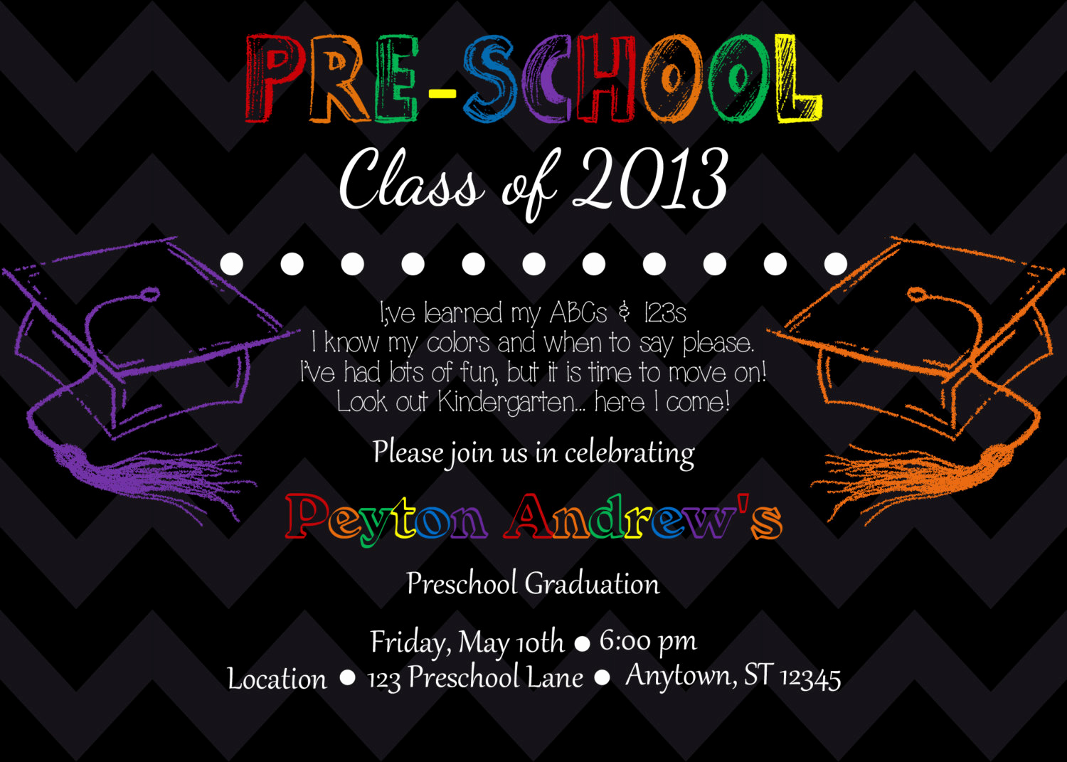 Preschool Graduation Invitation Ideas Unique Preschool Kindergarten Graduation Invitation by