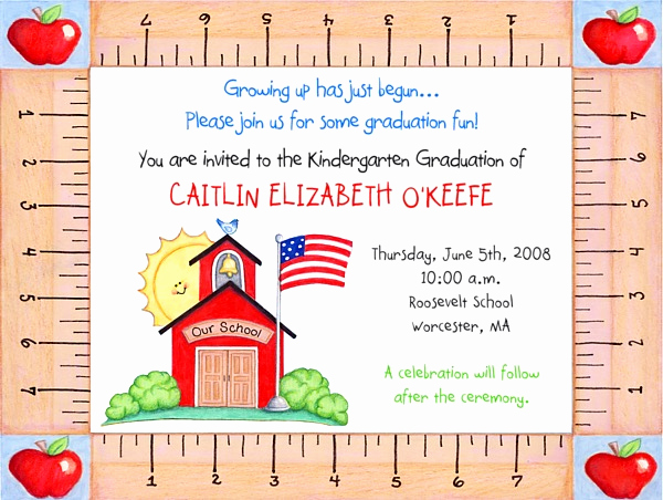 Preschool Graduation Invitation Template Beautiful Kindergarten Preschool Graduation Invitations