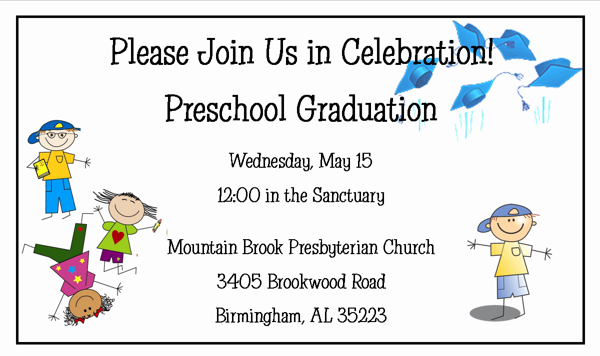 Preschool Graduation Invitation Template Beautiful Preschool Graduation