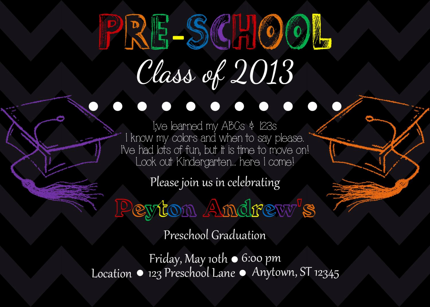 Preschool Graduation Invitation Template Best Of Preschool Kindergarten Graduation Invitation by