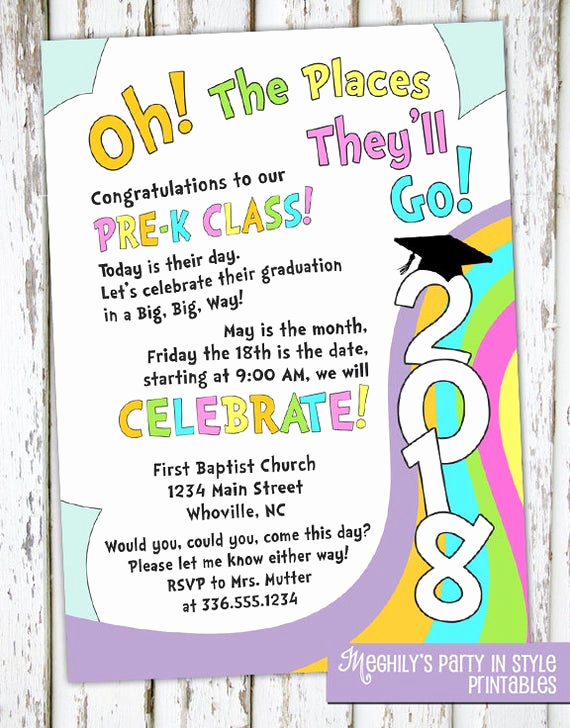 Preschool Graduation Invitation Template Elegant Oh the Places You Ll Go Preschool Graduation Invitation