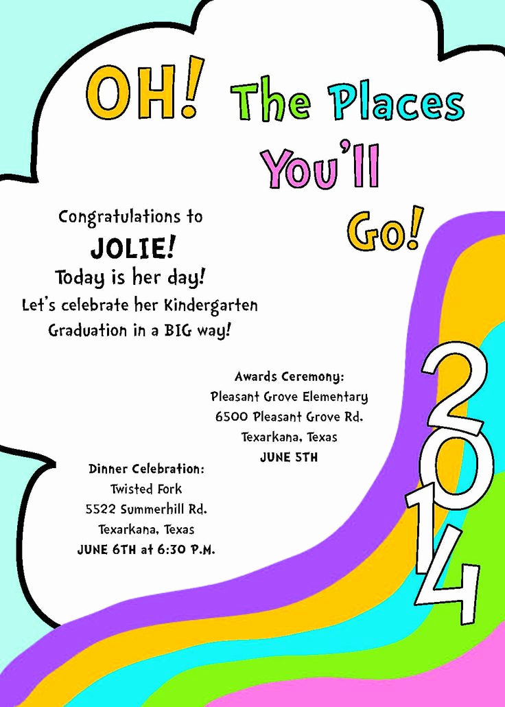 Preschool Graduation Invitation Template Lovely Dr Suess Inspired Kindergarten Graduation by