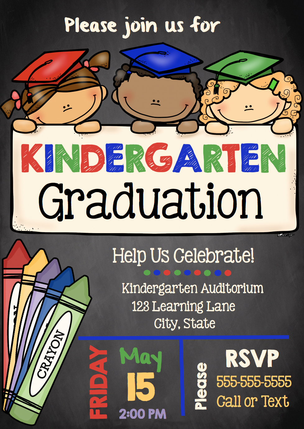 Preschool Graduation Invitation Template New Adorable Kindergarten Graduation Invitations Customize