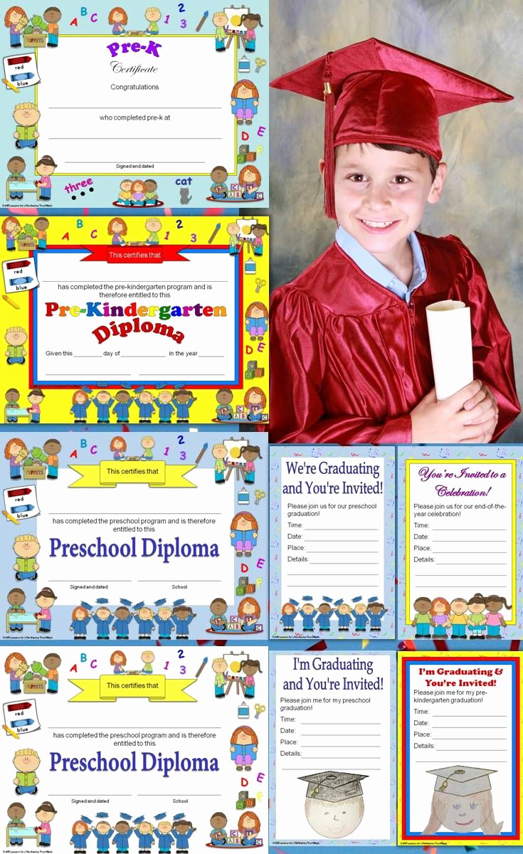 Preschool Graduation Invitation Template New Preschool Diplomas Certificates Graduation Invitations