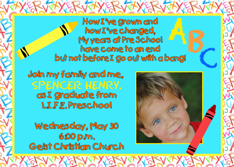 Preschool Graduation Invitation Wording Beautiful Digital Preschool Kindergarten Graduation by