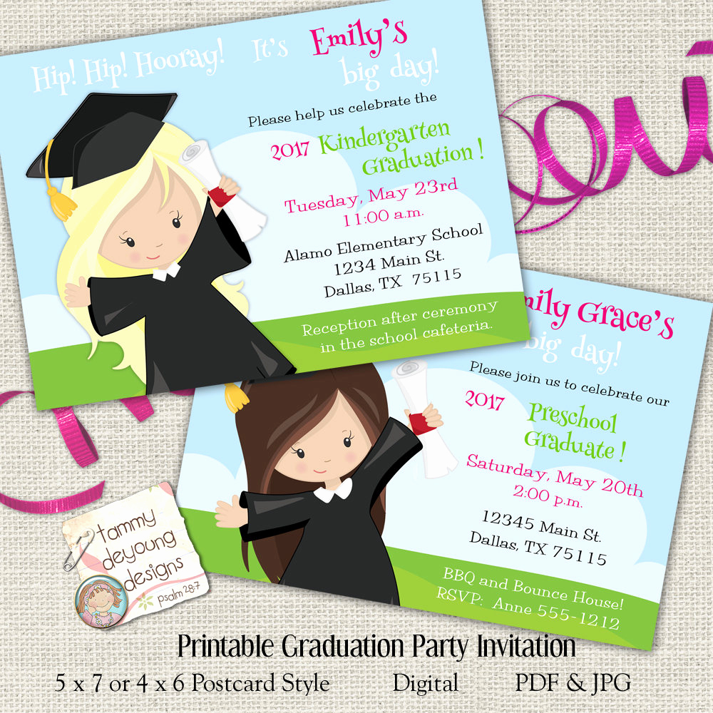 Preschool Graduation Invitation Wording Beautiful Girls Graduation Invitation Preschool Graduation