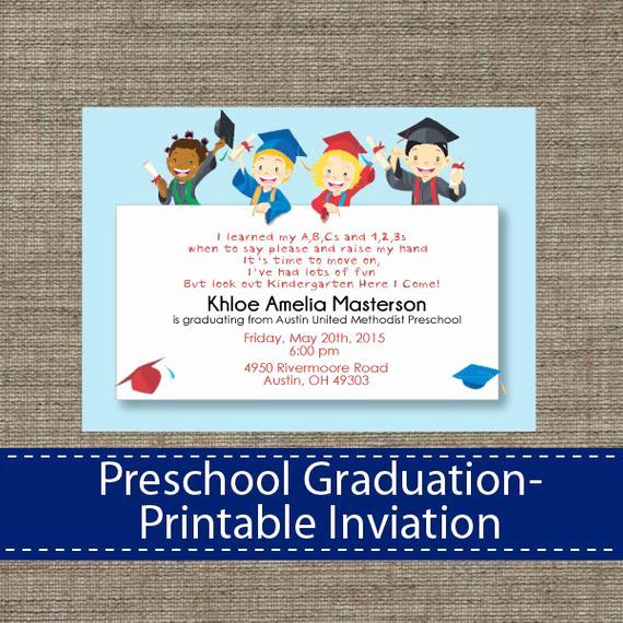 Preschool Graduation Invitation Wording Elegant Preschool Graduation Invitation Diy Printable