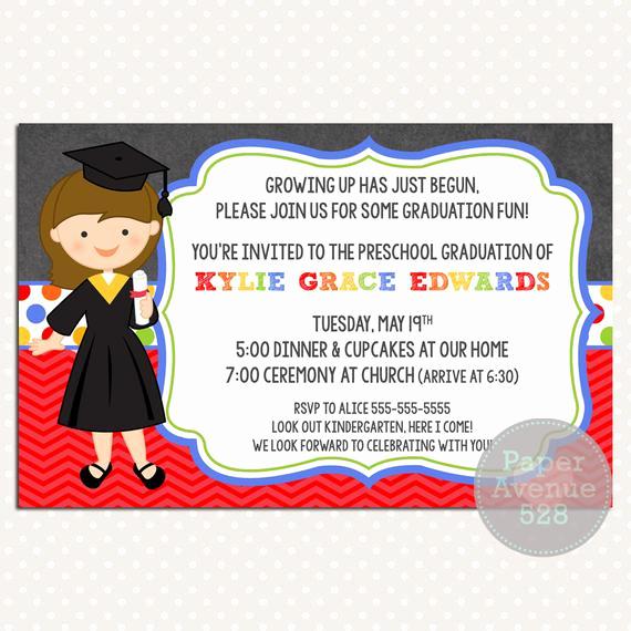 Preschool Graduation Invitation Wording Inspirational Girls Graduation Invitations Chalkboard Premade Card Invite